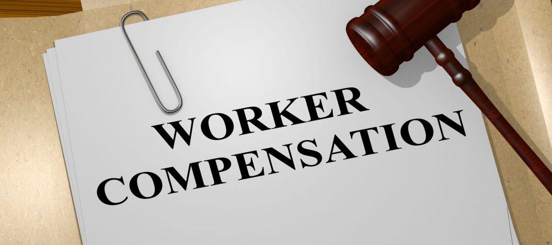 3D illustration of 'WORKER COMPENSATION' title on legal document